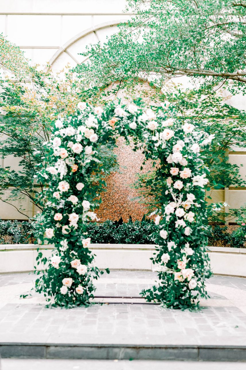 downtown wedding arch