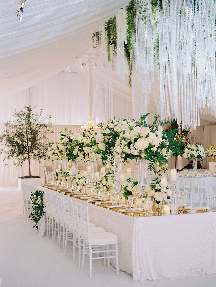 classic white and gold reception