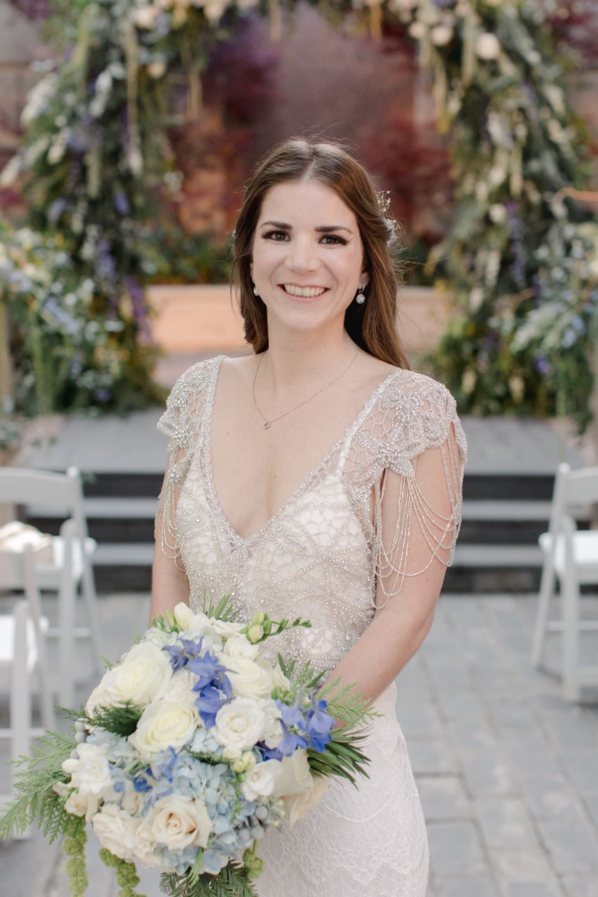 blue and white wedding bride