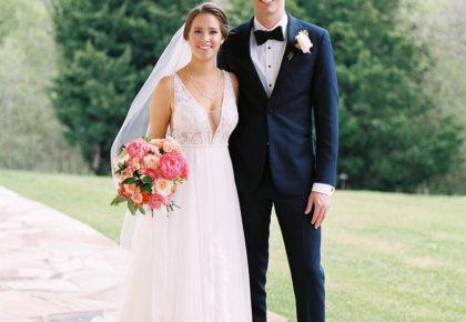 springtime bride and groom