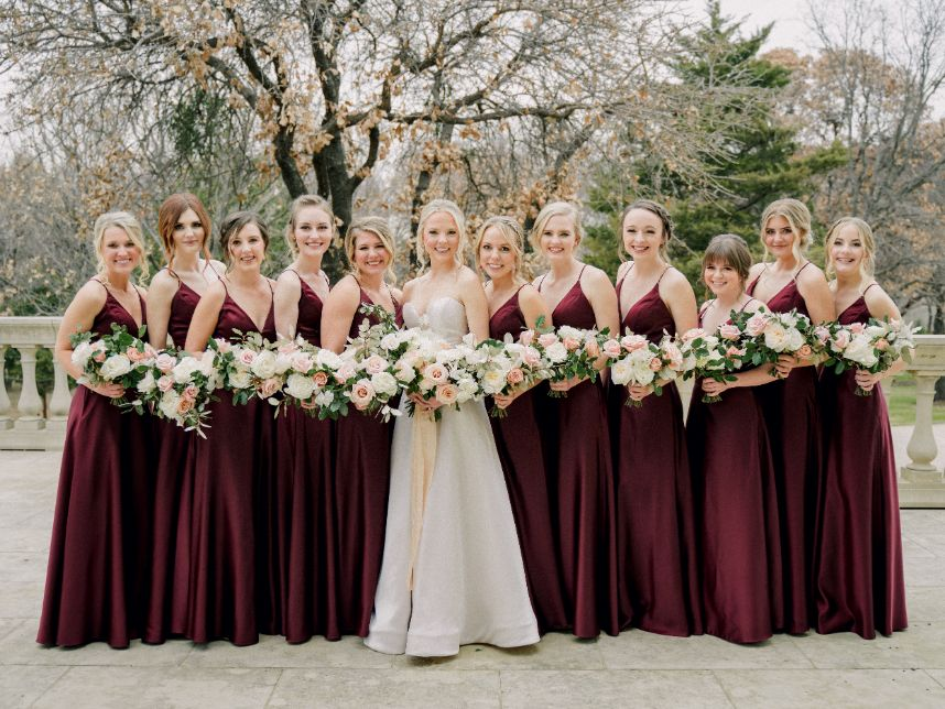 maroon bridesmaids gowns