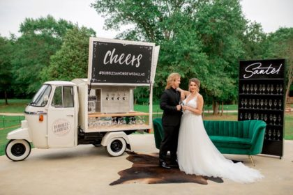 Edgy Emerald Wedding Inspiration North Texas Wedding Venue Margot Hill Weddings and Events North Texas Mobile Bar Wedding Bartending Bubbles and Brews Dallas