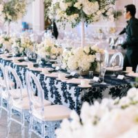 white florals, wedding recpetion with white florals and black details