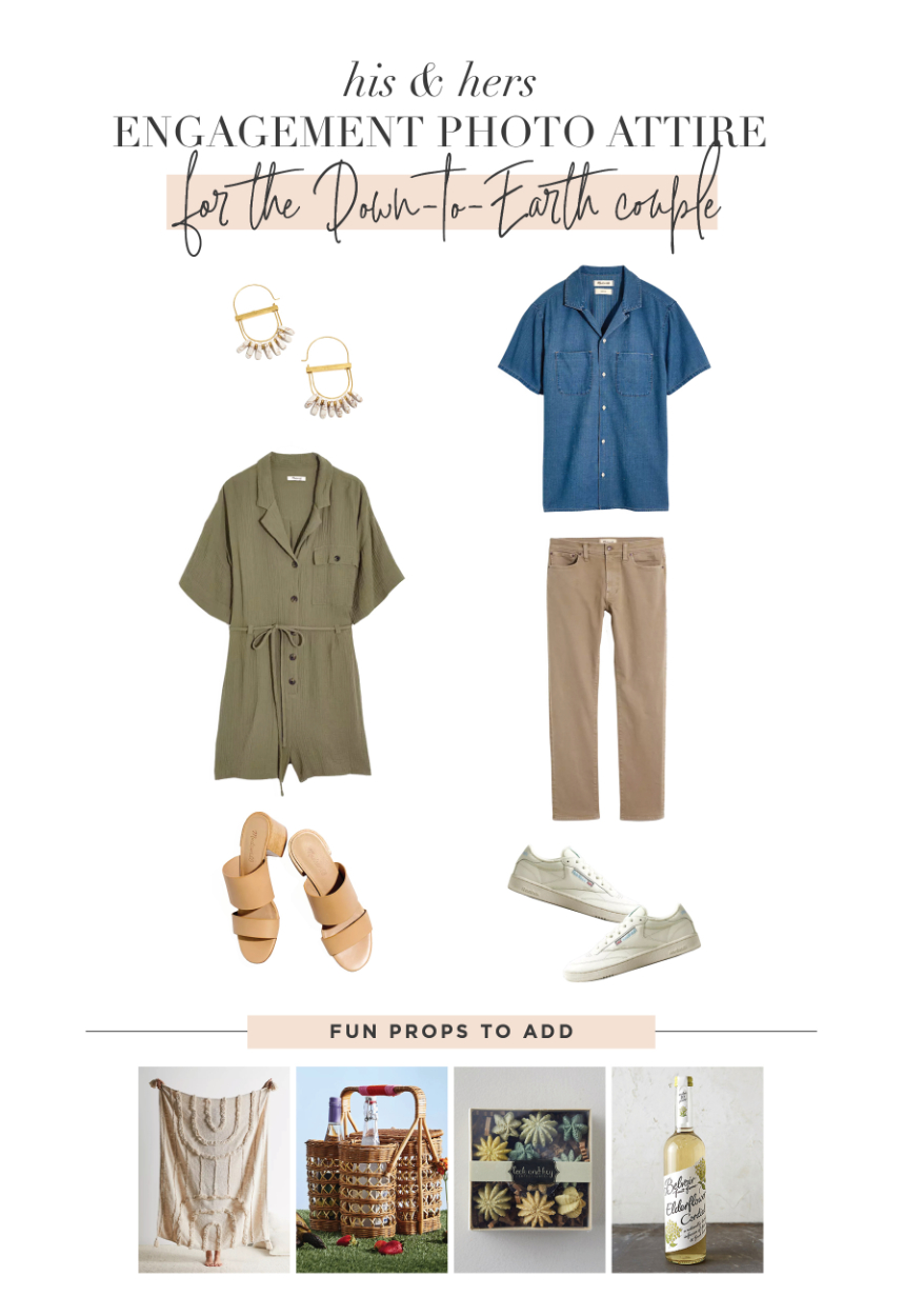 engagement photo outfits for the down-to-earth couple