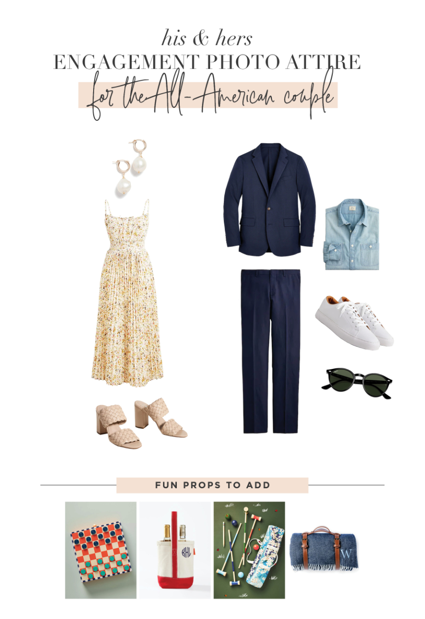 engagement photo outfits for the All-American couple