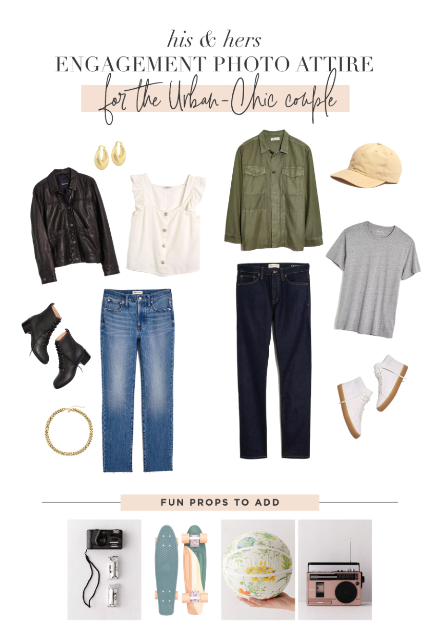 engagement photo outfits for the urban-chic couple