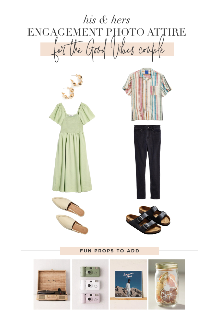 engagement photo outfits for the good vibes couple